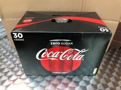 Zero Sugar Coca Cola 30 x 330ml Cans Case Multi Pack Box Multipack Party Drink