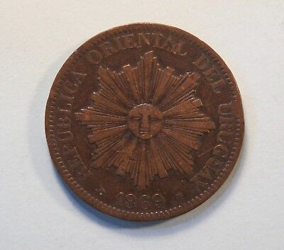 1869 Uruguay 4 Centesimos Bronze World Coin KM13  Radiant Sun Face