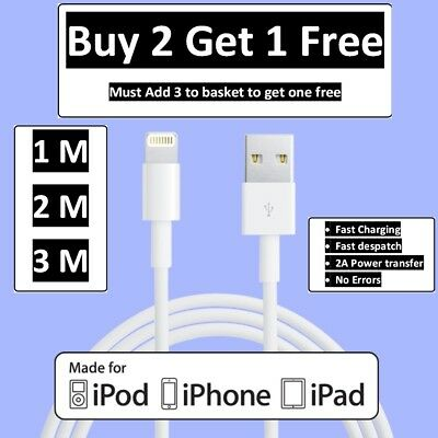 Genuine Apple iPhone Lightning USB Charger Cable 1M 2M 3M For iPhone X 8 7 6 5