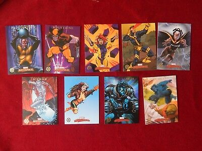 Set Of Marvel Masterpieces X-Men Trading Cards X1-X9 Upper Deck 2007