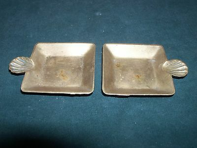 Vintage 1930's 40s Art Deco USA Made Set of 2 Solid Brass Personal Size Ashtrays