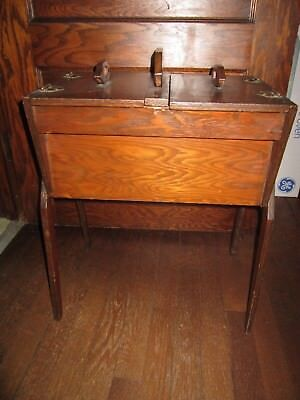 Vintage Solid Brown Stained Wood Sewing Notions Storage Cabinet Box Stand