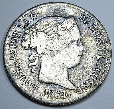 Spanish Philippines VF-XF 1864 20 Centimos Peso Reales Antique Rare Spain Coin