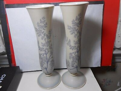 """Rosenthal Rare Vintage Quality Matched Pair Vases 11 1/2"""" High Bisque Glaze Look"""