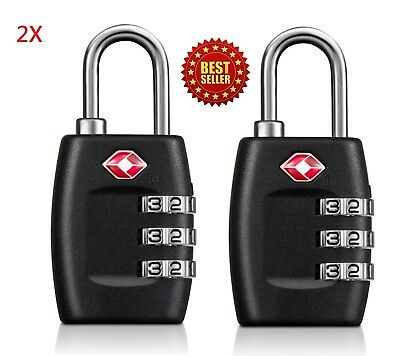 2X TSA Approved Lock Travel Luggage 3 Combination Resettable Padlock