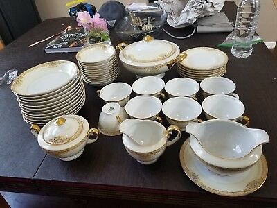 MEITO China Hand Painted beautiful Set Made in Japan, Bowls, Tea, Gravy Boat etc