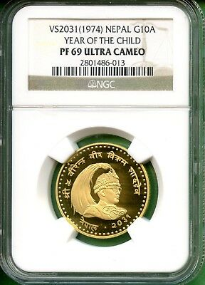 1974 NEPAL  YEAR OF THE CHILD G10A  Gold  0.3374OZ  NGC PF69 UC   VS203