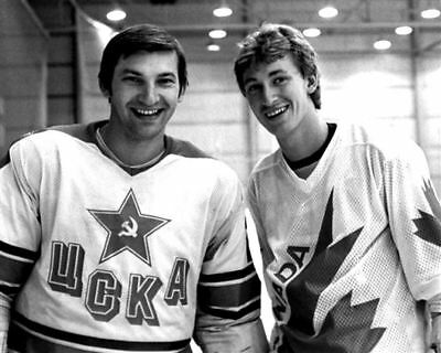 Wayne Gretzky with Vladislav Tretiak Team CCCP, Russia 8x10 Photo