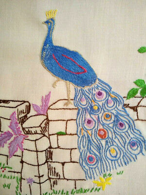 Superb Peacock & feathers -Vintage Hand embroidered Picture/Panel-Ready to frame