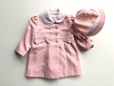 Vintage Girls 2T Pink Pea Coat Dress Jacket Cute Togs Button Down Fully Lined 60