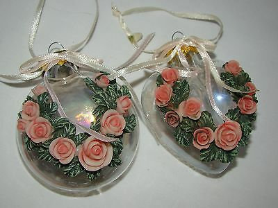 Victorian Style Clear Glass 3D Carved Roses Christmas Tree Ornament Lot of 2