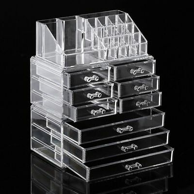 Large Cosmetic Organizer Clear Acrylic Jewellery Box Makeup Storage Case Drawers