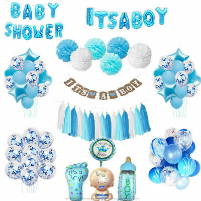 Baby Shower Boy Party Favour Blue Balloons IT'S A Boy Bunting Pompoms Birthday