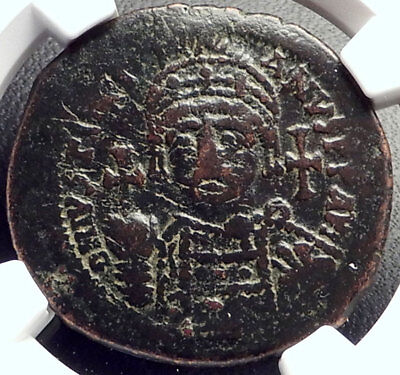 JUSTINIAN I the GREAT 527AD Follis Authentic Ancient Byzantine Coin NGC i69176