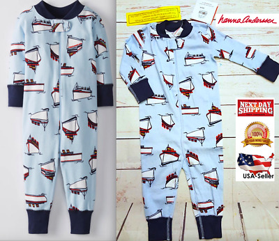 Hanna Andersson BOY'S Night Baby Sleepers In Pure Organic Cotton BLUE SAILBOAT