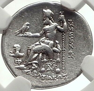 LYSIMACHOS Authentic Ancient Silver 301BC Colophon Greek Coin ZEUS NGC i69310