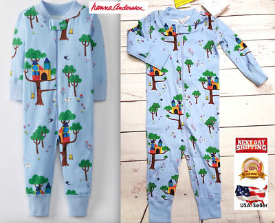 Hanna Andersson BOY'S Night Baby Sleepers In Pure Organic Cotton BLUE TREEHOUSE