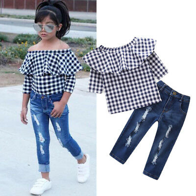 2PCS Toddler Kids Baby Girls T-shirt Tops +Denim Jeans Pants Outfits Clothes Set