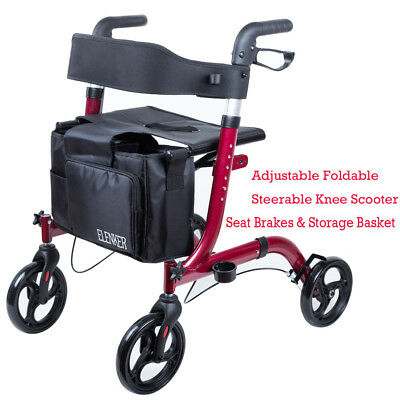 ELENKER Euro Style Rollator Foldable Rolling Walker with Wheels Soft Seat USA