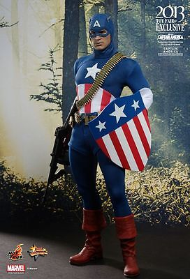 2013 Toy Exclusive Hot Toys 1/6 Captain America Mms205 Star Spangled Man Figure