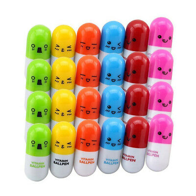 24pcs Vitamin pill Ballpoint Pen,Novelty Retractable Gift Ball pen with Emoji Z1