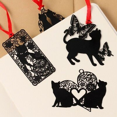 Retro Metal Hollow Cat Bookmark Flags Book Mark Page Marker Novelty Gift Black