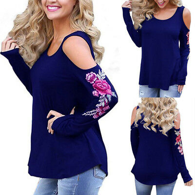 7a3f3882b0fcef Fashion Women Ladies Cut Out Long Sleeve T-shirt Cold Shoulder Loose Tops  Blouse