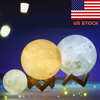 3D Magical LED Luna Night Light Moon Lamp Desk Table USB Charging Touch Control