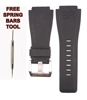 Compatible BR Bell And Ross BR03 24mm Black Diver Rubber Watch Strap BR101