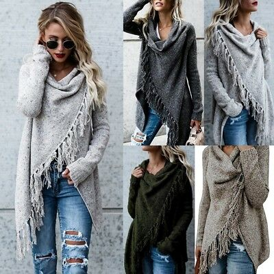 Womens Tassels Fringe Shawl Coat Tops Cardigans Knitted Oversized Sweater Jumper