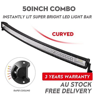 50inch Curved Cree LED Light Bar Spot Flood Combo Beam Work Driving 4WD