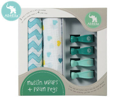 All4Ella Muslin Wraps & Pram Pegs - Hearts & Chevron Turquoise