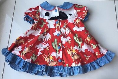 Vintage Julie Tenant Collection Girls Buttoned Cowgirl Dress Size 12 Months