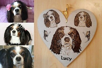 Custom Pyrography Portrait from Photo, heart, Custom Pet Portrait, Memorial,