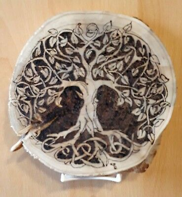 Natural Birch Wood Slice Pyrography Tree of life, pagan, celtic