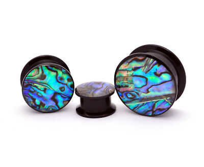 Pair of Black Acrylic Embedded Abalone Plugs (PA-414) gauges 8g through 1 inch