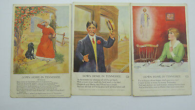 Set Of 3 x WW1 Inter-Art Artistique Song Postcards Down Home In Tennessee
