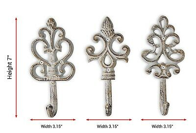 Shabby Chic Cast Iron Decorative Wall Hooks   Rustic   Antique   French  Country
