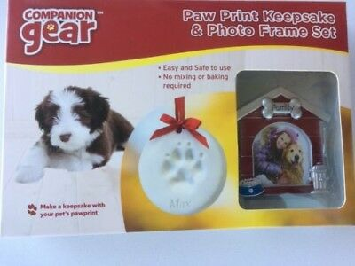Paw Print Keepsake Photo Frame Set Dog Cat Companion Gear, NIP w/ FREE SHIPPING!