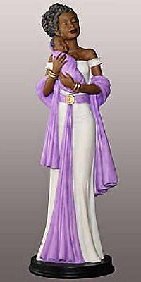 Angel in Violet With Baby: African American Figurine (16234) NEW
