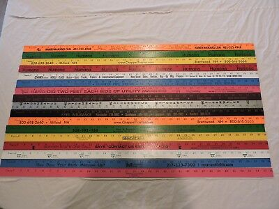 17 Yardstick Wood Wooden Ruler Lot Advertising Sign Color Art Craft Hobby