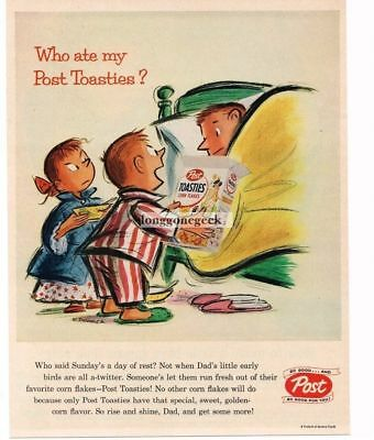 1956 Post Toasties Kids Waking Parents art by Whitney Darrow Jr. Vtg Print Ad