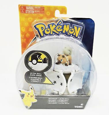 TOMY Pokemon Throw 'n' Pop Pokeball Rockruff & Ultra Ball Figure