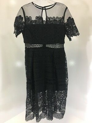 3be14af8b5355 Boohoo Boutique Women's Cary Lace Mesh Midi Skater Dress Blk Uk12/us8 Nwt  $58