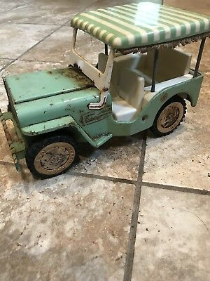 Vintage Tonka Toys 1960's Green Jeep Surrey Runabout