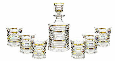 Fine Crystal Clear Glass Liquor Decanter and Double Old Fashion Glass 7 Piece