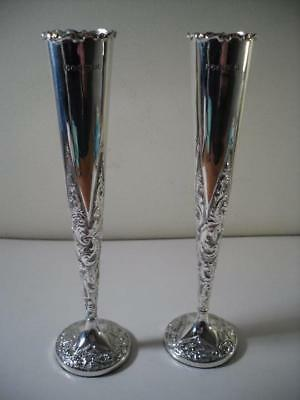 An Ornate Pair of Antique Silver Tapered Vases : Sheffield 1899