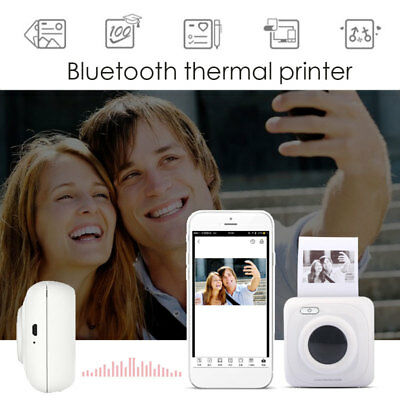 White Bluetooth 4.0 Mini Convenient Mobile Printer Office Thermal Paper Gift