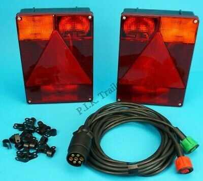 2 x Radex 6800 9 Pin Plug In Trailer Lamps & 4 metre Wiring Harness Indespension