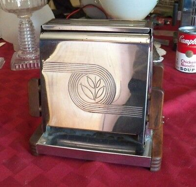 Antique Toaster, Electric, Heatmaster, 2 Slice Manual Toaster, With Wood Trim